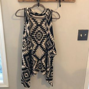 Francesca's black and white tribal print vest